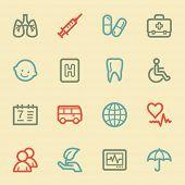 Medicine web icon set 1, retro color