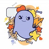 pic of kawaii  - Halloween kawaii print or card with cute doodle ghost - JPG
