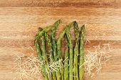Grilled asparagus and parmesan cheese.