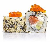 Sushi Roll With Sesame And Red Roe Isolated On White
