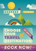 Illustrated travel poster. Vector illustration.