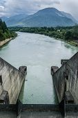 stock photo of hydro  - Hydro electric dam power plant on Drau river in Ferlach Austria - JPG