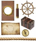 foto of treasure map  - nautical objects set isolated - JPG