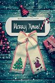 Merry Christmas Card With Text - Decoration In Vintage Style.