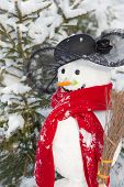 Winter - Snowman In A Snowy Landscape With A Hat And A Red Scarf