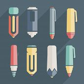 Icon Stationery And Brushes Of Color Set