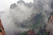 Huang Shan Mountains Hidden In Mist