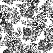 picture of day dead skull  - Skull and Flowers Monochrome Seamless Background  Day of The Dead - JPG