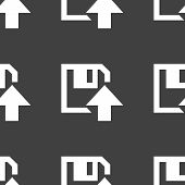 floppy disk upload web icon. flat design. Seamless pattern.