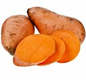 Sweet potatoes with slices isolated on white background