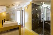interior new loft, yellow bathroom