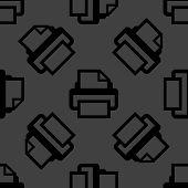 Printer web icon. flat design. Seamless pattern.