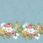 stock photo of wildflowers  - Seamless Pattern with Vintage Roses and Wildflowers Nature background - JPG