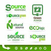 Set of green icons on the white background. Bio - Ecology - Green - Renewable icon set
