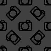 Camera web icon. flat design. Seamless pattern.