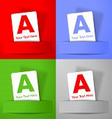 Set of white paper cards on colorful backgrounds