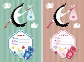 Baby shower invitation with stork.Newborn set