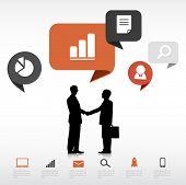 Vector Two Businessmen Handshake with Social Media Concept