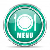 menu green glossy web icon