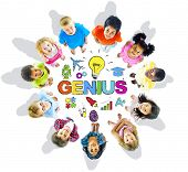 Group of Children Circle Genius Word