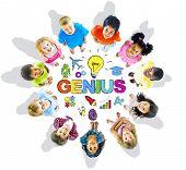 Group of Children Circle Genius Word