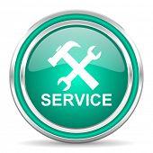service green glossy web icon