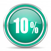 10 percent green glossy web icon