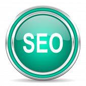 seo green glossy web icon