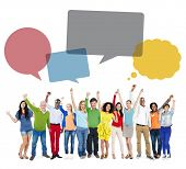Multiethnic Group of People Arms Raised with Speech Bubbles