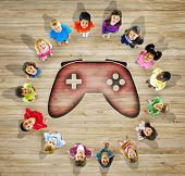 Group of Children With GAme Controller