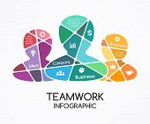 Vector teamwork infographic. Template for a partnership presentation. A business concept with a grou