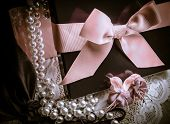 stock photo of mother-of-pearl  - Gift box with pearls - JPG