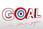 The word goal with target on white background