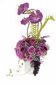 Decoration Artificial Plastic Flower With Vintage Design Vase