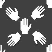 hand web icon.flat design. Seamless pattern.