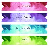 Abstract watercolor art hand paint isolated on white background. Bright watercolor banners