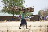 BOR, SOUTH SUDAN-FEBRUARY 25 2013:Unidentified South Sudanese woman carries a heavy load of wood on her head.