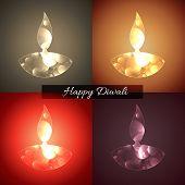 Vector background of shiny diwali diya