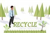 The word recycle and happy businessman standing with hands in pockets against forest with earth tree
