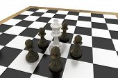 White king surrounded by black pawns on white background