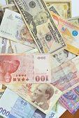 Assorted International Paper Money Close Up