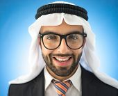 Arabic young business man mix between traditional and european clothes