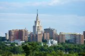 Cityscape of Moscow, Russia with the dominated building of Moscow State University