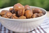 Steamed whole chestnuts in a bowl