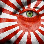Rising Sun Flag Painted On A Man's Face