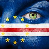 Cape Verdean Flag Painted On A Man's Face