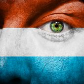 Luxembourger Flag Painted On Mans Face