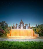 night view of Magic Fountain in Barcelona