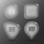 Enter. Glass buttons. Raster illustration.