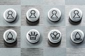 Photo of metal chess round shape.